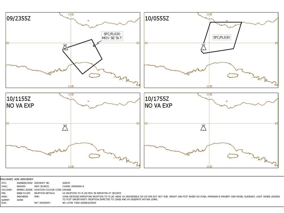 """La recente ripresa dell'attività esplosiva osservata sul  vulcano Semeru , in Indonesia, sembra essere appena culminata in un'eruzione mostruosa """"VEI 5"""" alle 23:51 UTC del 9 giugno (sebbene le informazioni rimangano scarse) .  In seguito al potente pop di Semeru a 46.000 piedi (14 km) il 17 maggio , il Centro di consulenza sulle ceneri vulcaniche (VAAC) Darwin ha apparentemente ora confermato un secondo pennacchio di ceneri vulcaniche spesse, che salì a una sconcertante 19,000 km ore del 10 giugno.  Anche l'eruzione sembra essere stata confermata sia da HIMAWARI-8 sia da vulcanodiscovery.com e, se le fonti sono corrette, avrebbe prodotto un'enorme iniezione stratosferica di proporzioni potenzialmente pliniane – una delle più grandi eruzioni dell'ultimo decennio , probabilmente un VEI 5."""